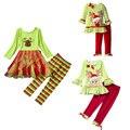 Девушки мода одежда наборы 2016 девушка, набор одежды Наряд Рождество Топы Dress + Брюки Мультфильм Хэллоуин Одежды Наборы