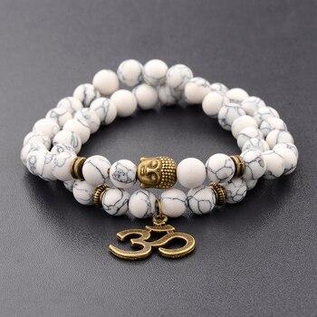 Charm Retro Buddha Bead Bracelet Men Black Natural Stone Chakra Bracelets Erkek Bileklik Bracelet Homme AB226 2
