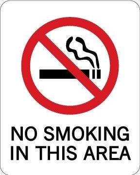 Не курить в этой области, 102x127 мм, самоклеющиеся этикетки, код товара PL15