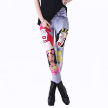 New 3186 Sexy Girl Slim Ninth Pants Cartoon Princess Fake jeans Printed Stretch Workout Fitness Women Leggings Plus Size