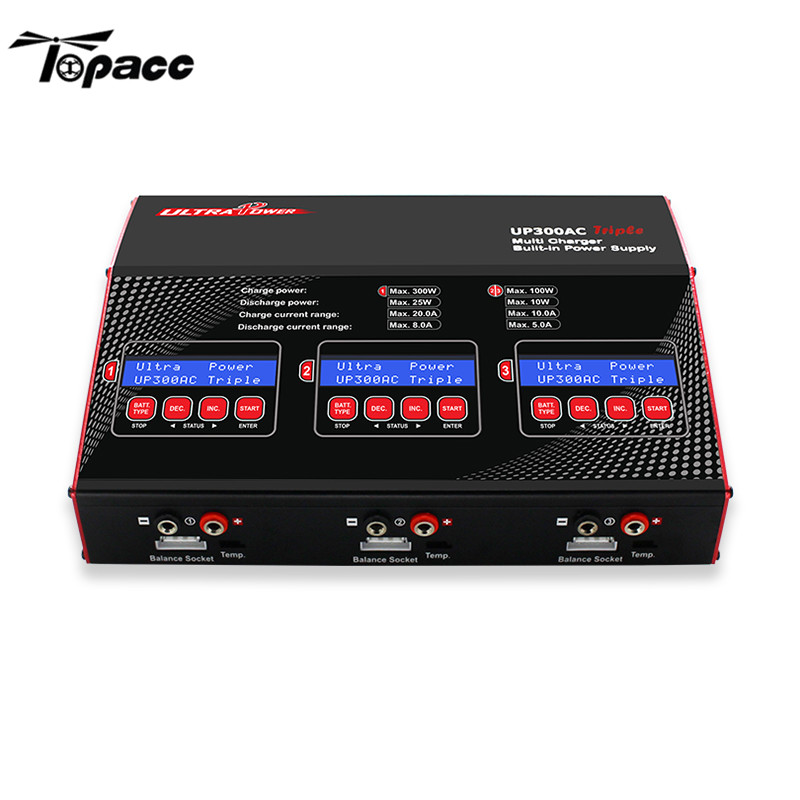 Original Ultra Power UP300AC Triple 3X100W 20A 3CH Battery Balance Charger 255*185*84mm For RC Toy Model Accessories