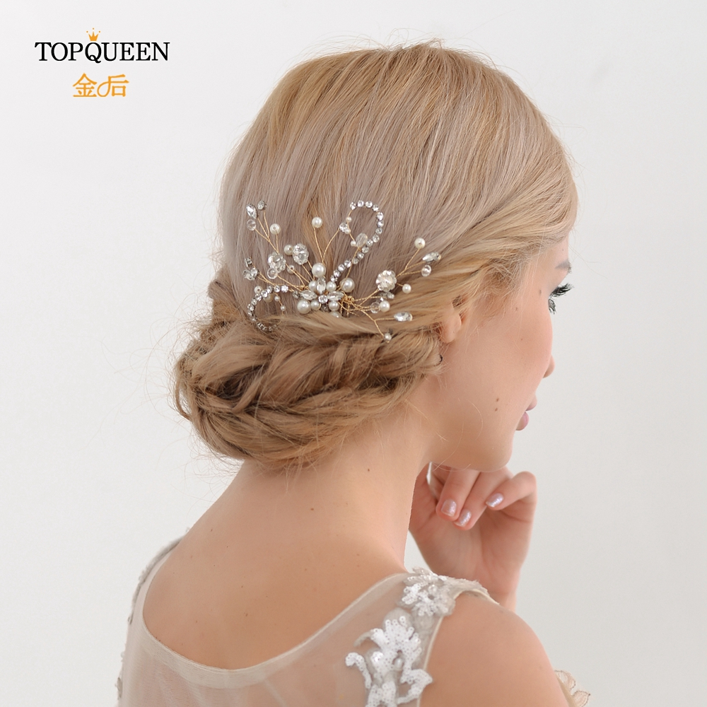 TOPQUEEN HP20 Wedding Tiara Bridal Combs Wedding Headwear Wedding Hair Accessories Bridal Headdress Wedding Hair Comb