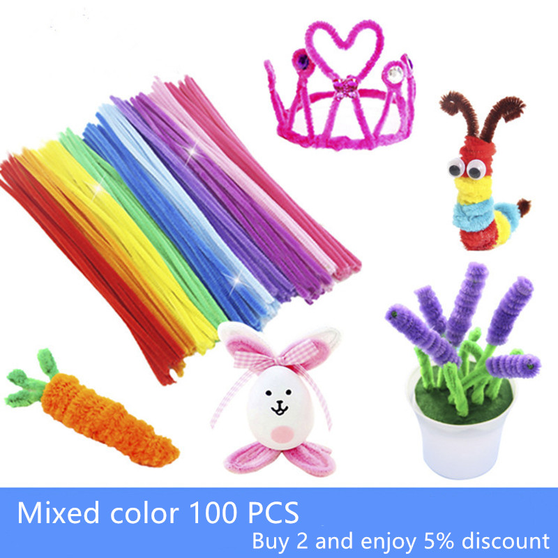 100PCS DIY Velvet Children Hand-made Material Twisted Iron Wire Developmental Toys Art Decoration Unlimited Creativity Mixed