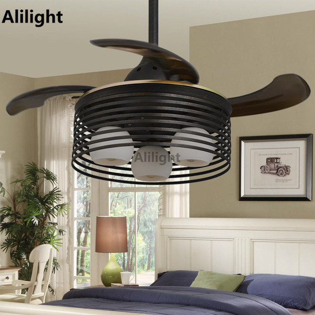 Modern Village Kid Small Ceiling Fans Remote Control Folding Hanging With Lights Black Retractable Ventilador