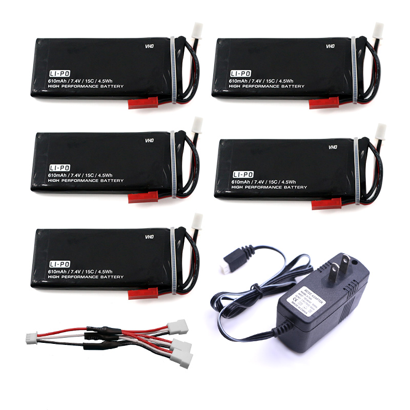 5pcs Hubsan X4 Batteries H502S RC 610mAh Lipo 7.4V RC Drone Battery 15C 4.5Wha and UL charger  For Hubsan H502E RC Quadcopter lipo battery 7 4v 2700mah 10c 5pcs batteies with cable for charger hubsan h501s h501c x4 rc quadcopter airplane drone spare