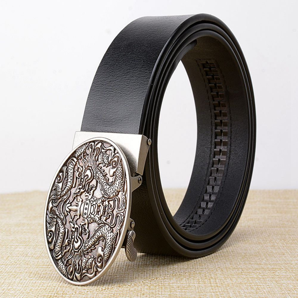 United Zld Mens Chinese Dragon Automatic Buckle Luxury Brand Male Genuine Leather Strap Belts For Men Top Quality Belt Cummerbunds Men's Belts