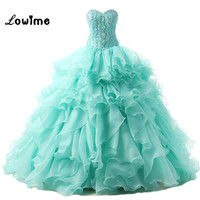 Sparkling Ball Gown Quinceanera Dresses Rhinestone Long Prom Dresses Corset Vestidos De 15 Anos Evening Gown
