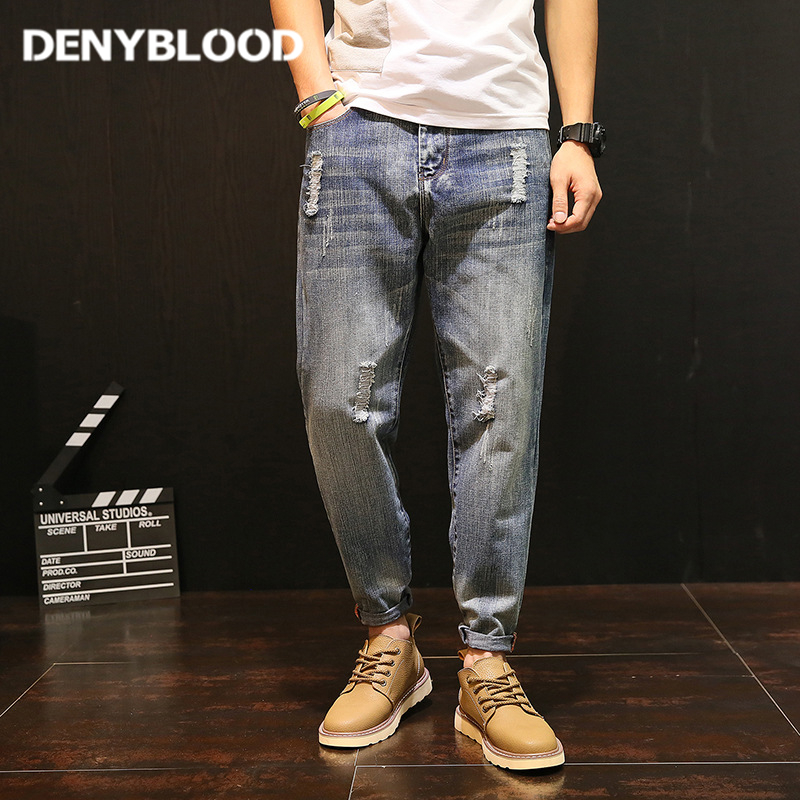 Denyblood Jeans Plus Size S-5XL Mens Distressed Jeans Ripped Slim Harem Pants for Man Destroyed Hole Fashion Casual Pants 5089 free shipping us au standard wall touch switch gold crystal glass panel 1 gang 1 way led indicator light led touch screen switch