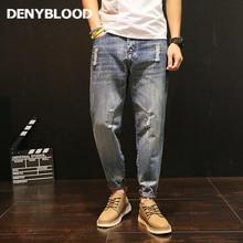 Denyblood Джинсы для женщин плюс Размеры S-5XL мужские проблемных Джинсы для женщин Ripped Slim штаны-шаровары для человек разрушенные отверстие моды Повседневные штаны для мужчин 5089