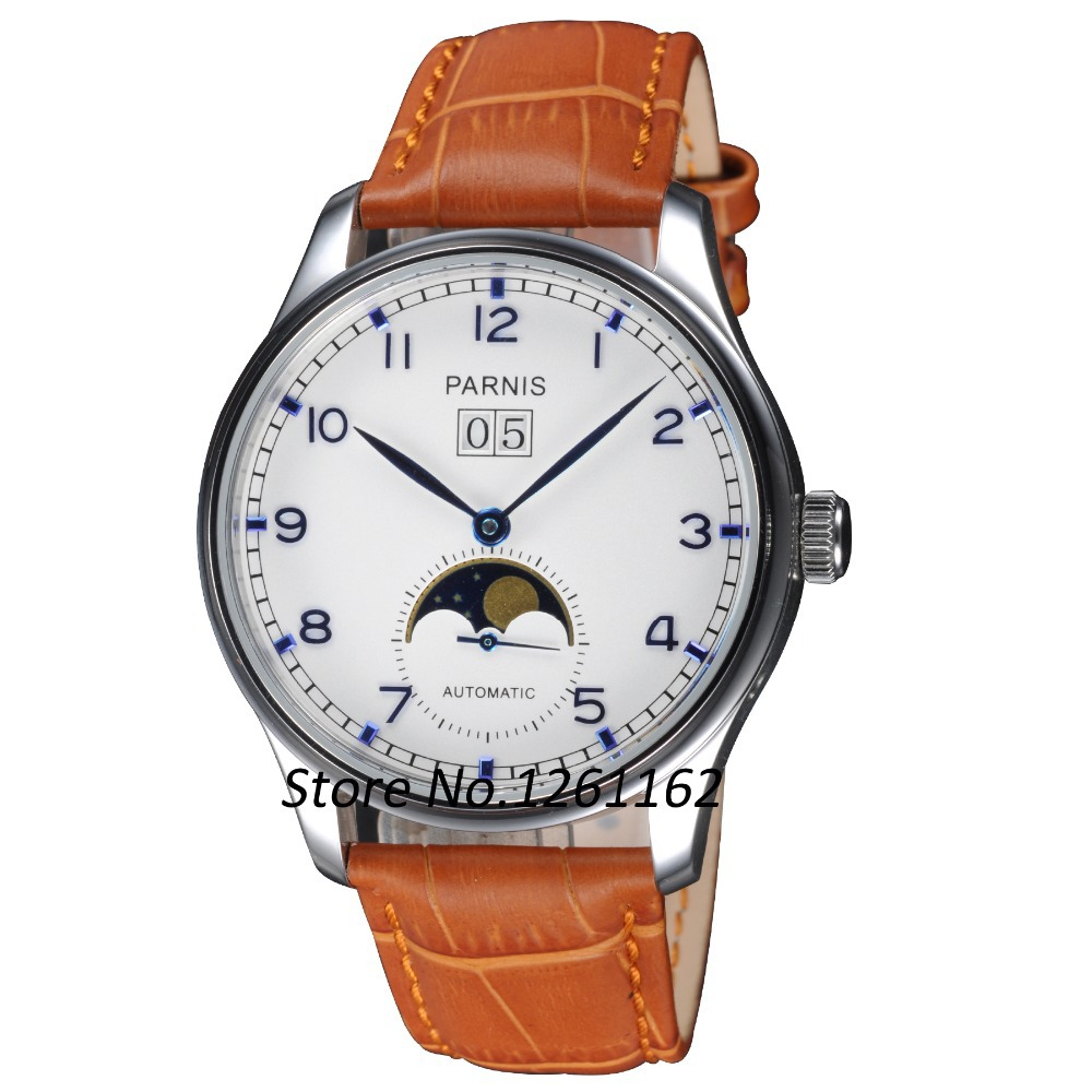 Free shipping 43mm Parnis Polit Dial Blue Numbers Automatic Men s Watch PA4316SW