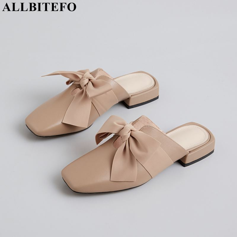 ALLBITEFO high quality full genuine leather low-heeled comfortable wedding women shoes fashion bowtie women heels girls shoesALLBITEFO high quality full genuine leather low-heeled comfortable wedding women shoes fashion bowtie women heels girls shoes