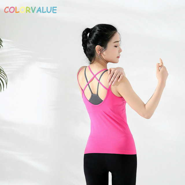 Colorvalue Slim Fit Two Pieces Yoga Vest Women Flexible Sport Dance Tank Tops Sexy V