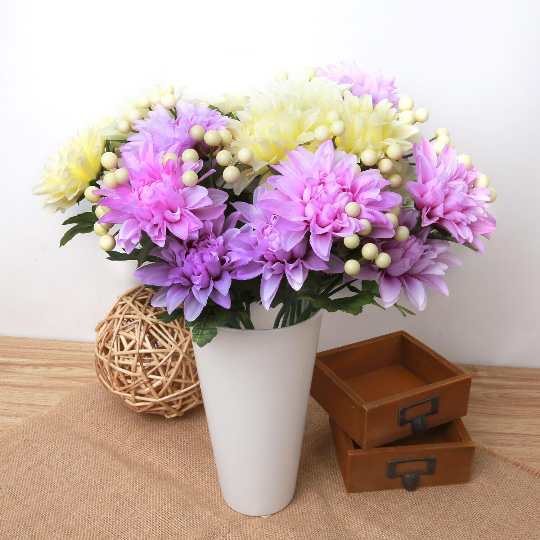 1 Bouquet 5 Head Vivid Artificial Dahlia Silk Flower Wedding Party
