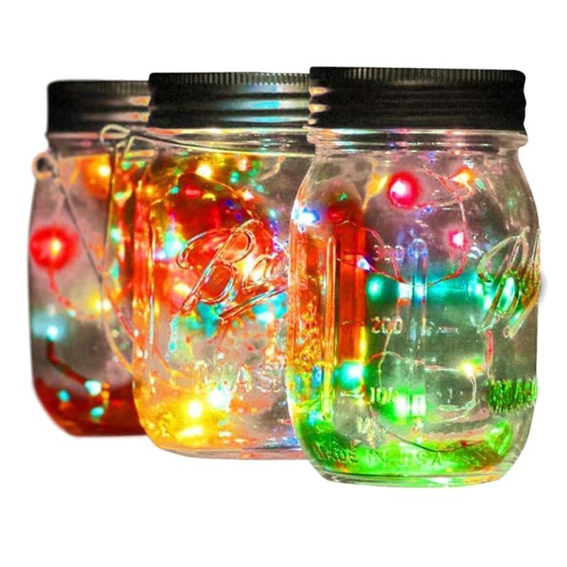 LED Fairy Light String For Mason Jar Solar Lid Insert Color Changing Waterproof Garden Decor Light Christmas Party Decor Garland