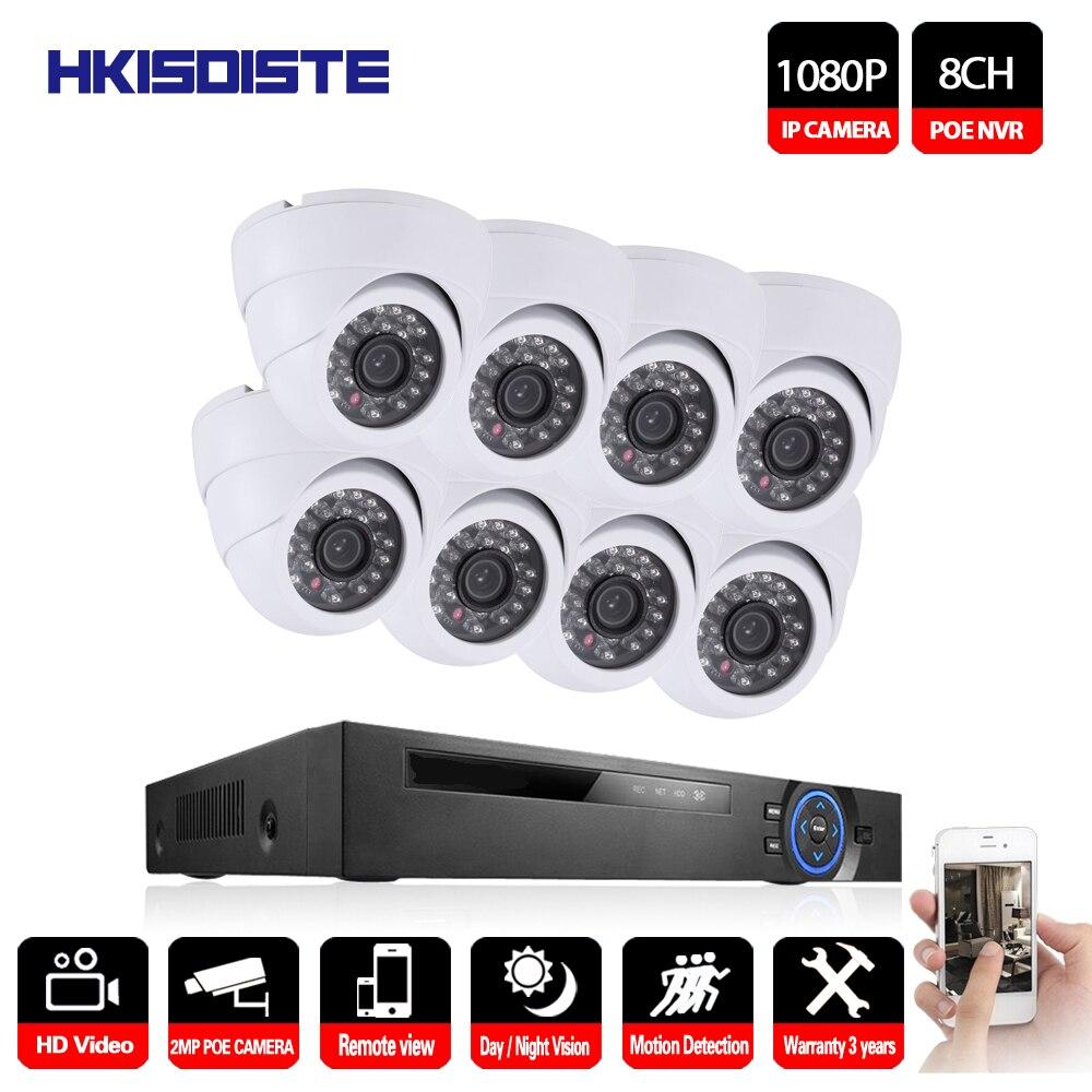 HD 8CH NVR 1080P POE CCTV camera System Kit 2MP White Dome IP Camera POE home security Video Surveillance set 2TB HDD 4ch poe nvr cctv system onvif p2p 4pcs 1080p hd vandalproof dome ir ip camera poe video surveillance camera security kit 2tb hdd