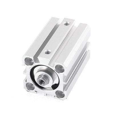 Silver Tone Metal Double Action Single Rod Air Cylinder SDA 25x40 silver tone aluminum alloy air compressor connecting rod 12mm x 20mm x 69mm