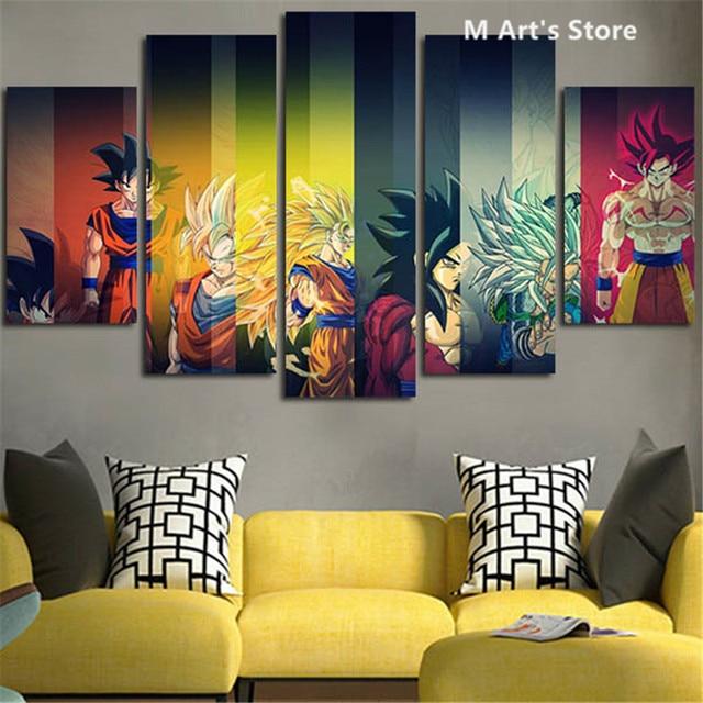 Ruang Tamu Kartun Lukisan 5 Pesawat Colorful Dragon Ball Poster Cetakan Dinding Seni Gambar