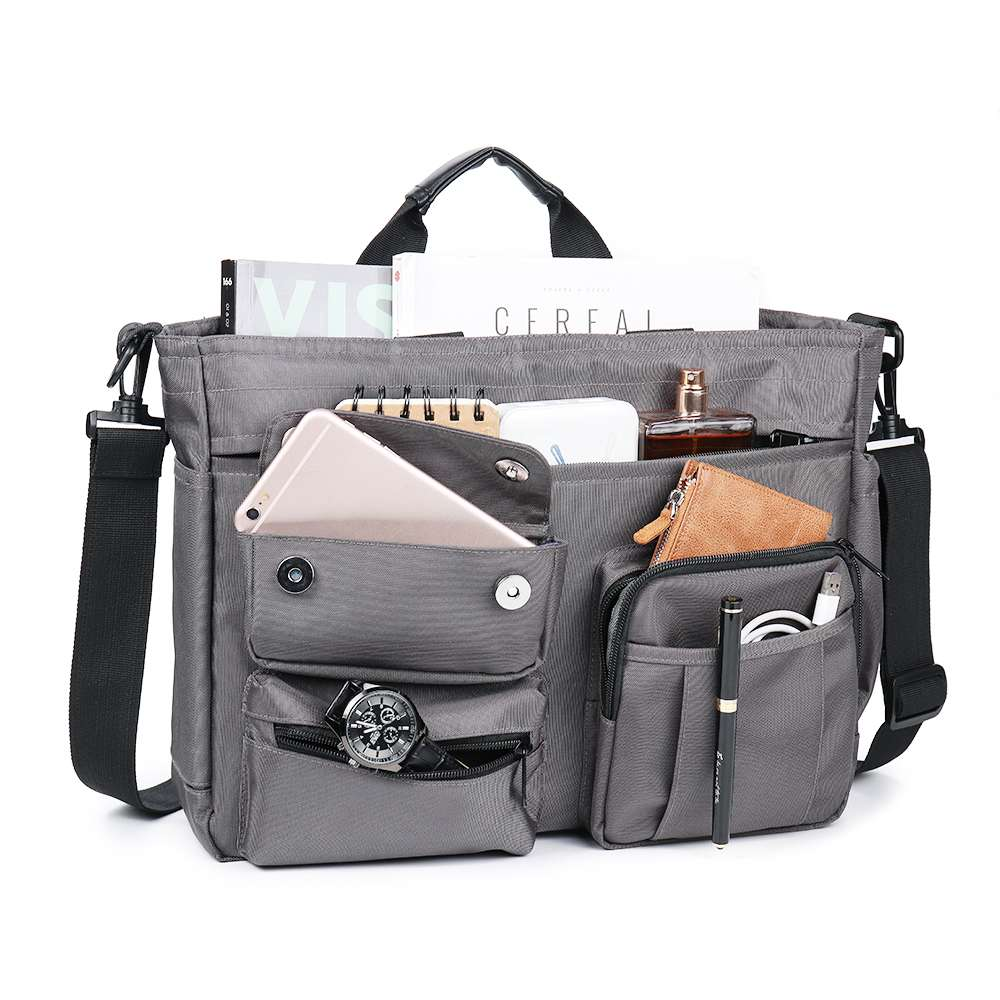 Osmond Fashion Waterproof Briefcase 14 Inch Laptop Tote Bag Multi-pocket Nylon Office Bags For Men Business Messenger Bags