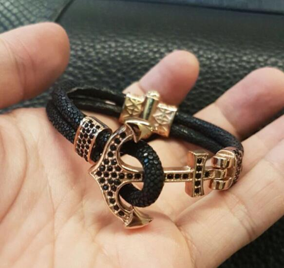 Trendy stingray bracelet for men,Exclusive Black stingray Bracelets Men & Women Stingray Bangle Leather Bracelets SW 0056