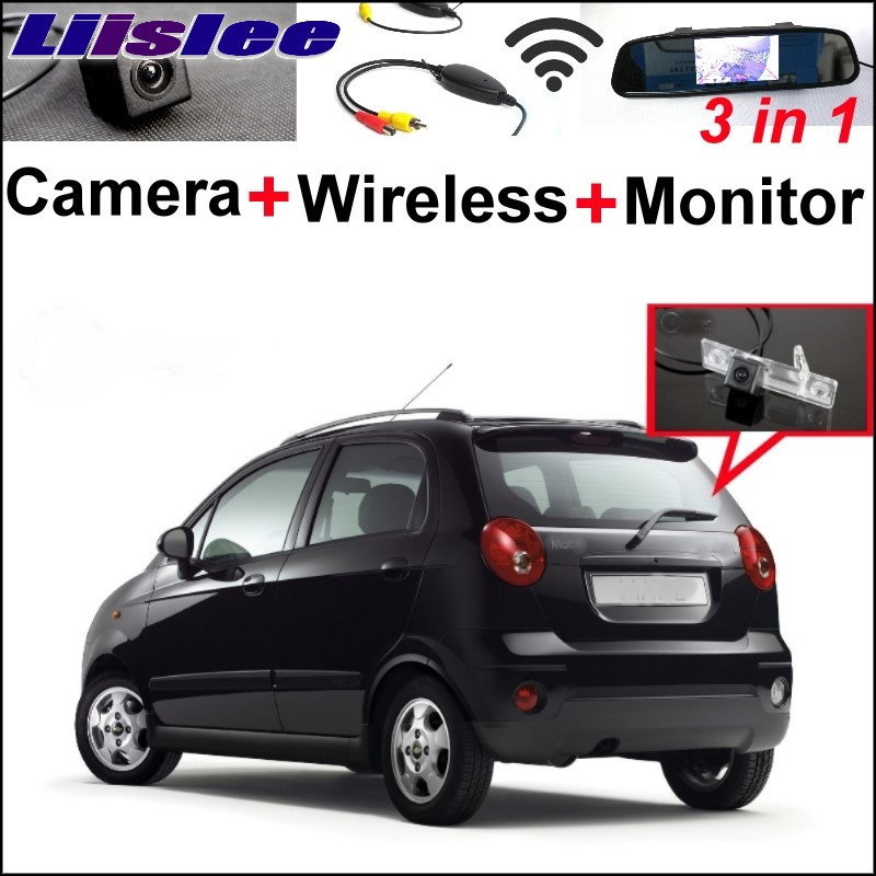 цена Liislee Car Rear View Camera Wireless Receiver + Mirror Monitor Parking System For Chevy Chevrolet Lacetti Matiz Nubira Pecial