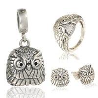 Baykuş takı setleri Gümüş Takı GW marka Takı kadınlar & erkekler için, 925 gümüş küpe ve kolye ve yüzük SET-002H15