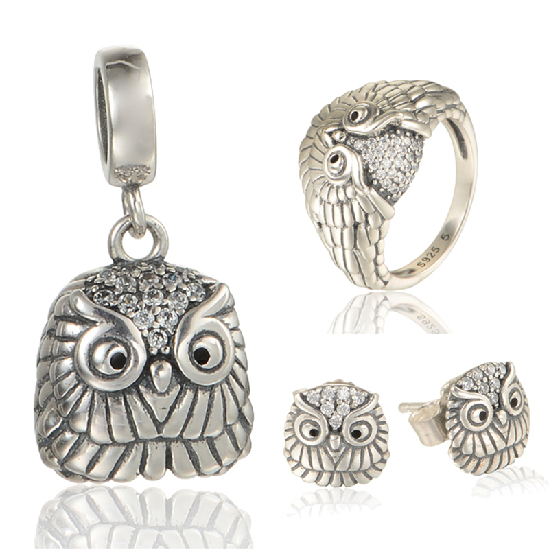 Owl jewelry sets Sterling Silver Jewelry GW brand Jewelry for women & men ,925 silver earrings and pendant and ring SET-002H15 брелок gw jewelry