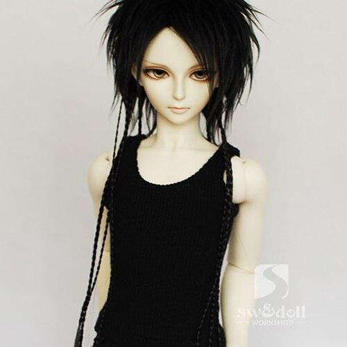 1/3 1/4 BJD Куклы Парик длинные черные косы 30 см.