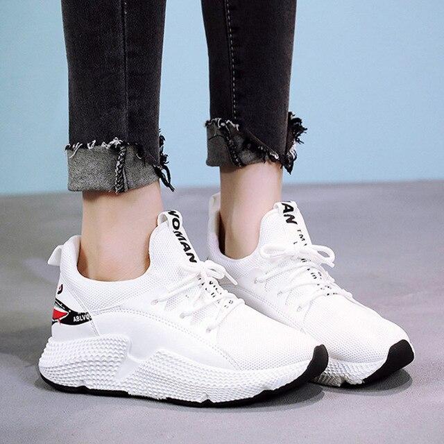 2018 Женская Вулканизированная обувь модный дышащий сетчатый кроссовки для женщин осенние кроссовки со шнуровкой повседневная обувь с принтом акулы