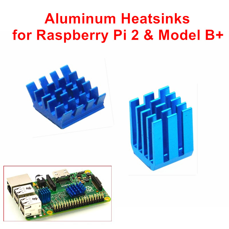Adhesive Aluminum Heatsinks 1 Set of 2 PCS Heat Sinks Cooler Kit for Raspberry Pi 3 / 2 Model B / Raspberry Pi B+ 12pcs aluminum heat sinks 2pcs pure copper heat sinks for raspberry pi 512m model b computer free shipping