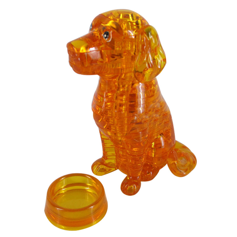 3D Crystal Puzzle Dog DIY Jigsaw Miniature Assembly Model Gift Decor Yellow