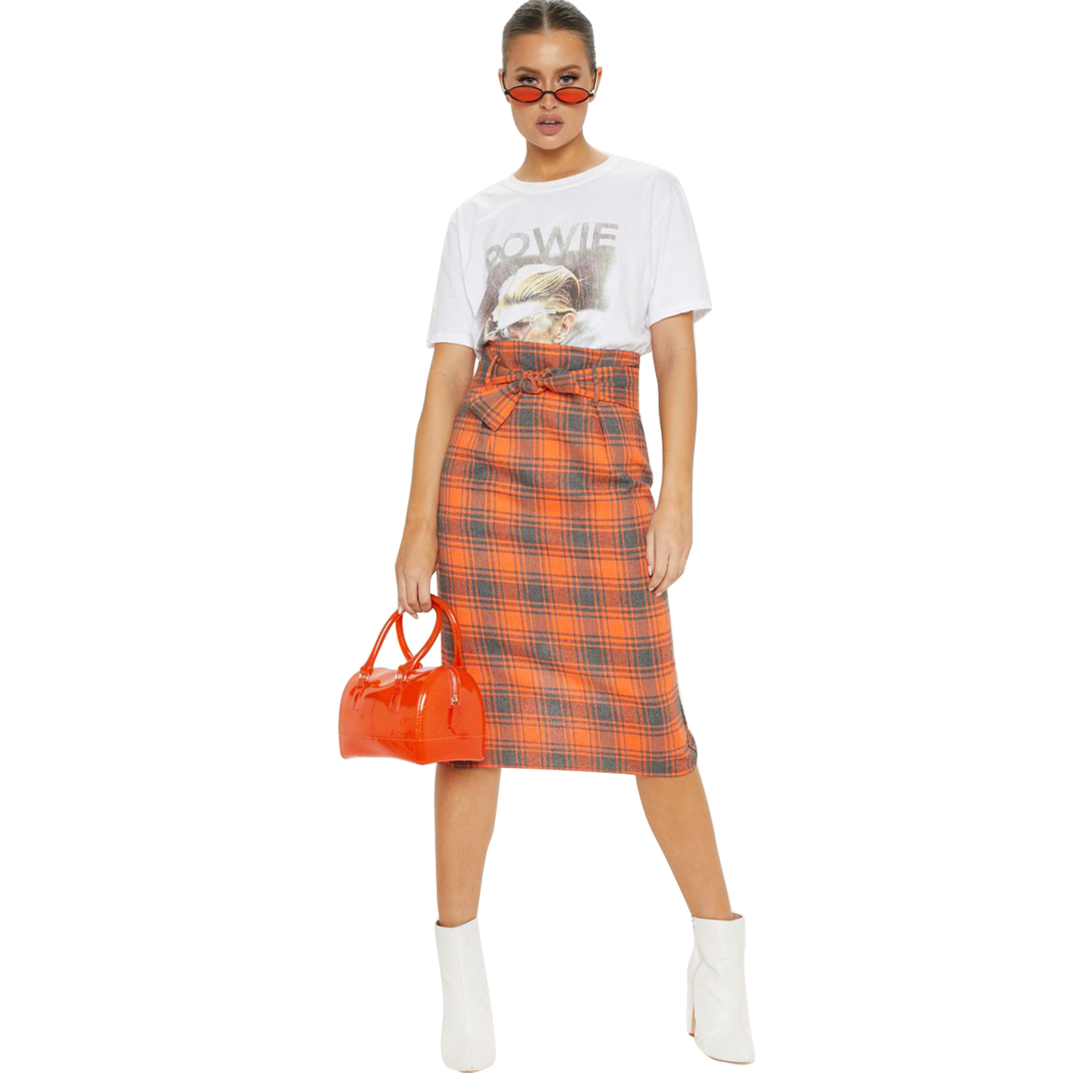 Fashionable New Spring Orange Plaid Skirts Womens Knee Length Split Skirt Girl Lady Natural Waist Plaid Skirt With Belt 81835