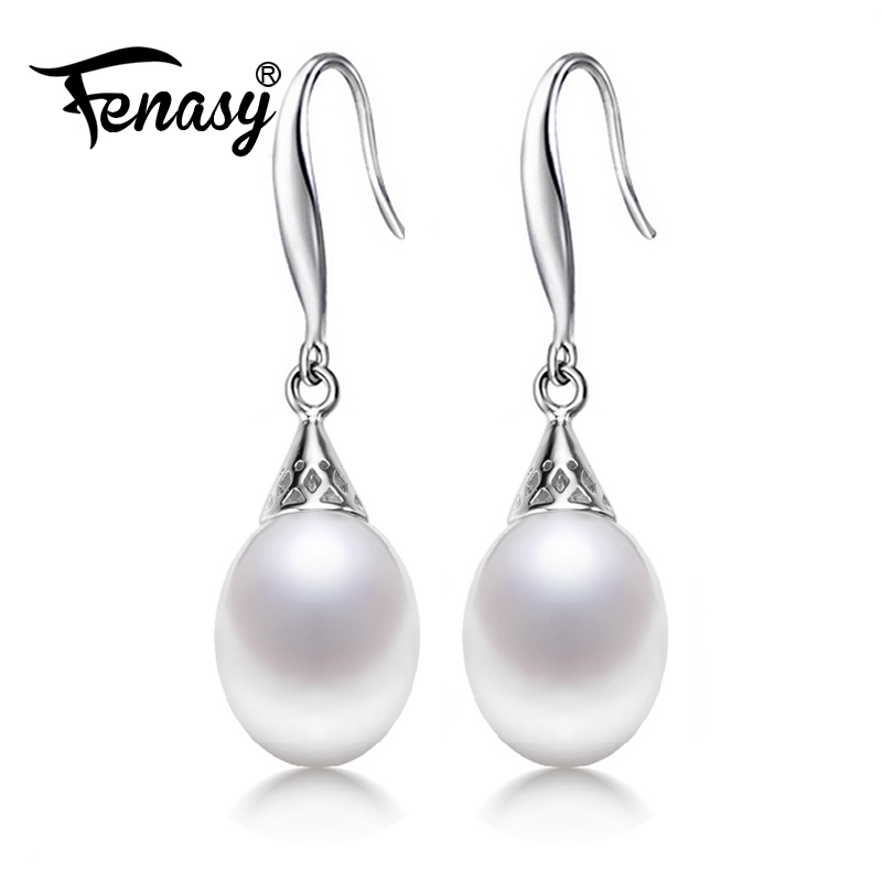 цена на FENASY 100% genuine brand pearl jewelry natural pearl earrings cultured freshwater pearls with 925 silver,long earring for women