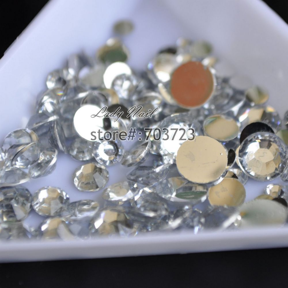 1000 pcs 2mm 6mm Mix Size Clear Color Resin Acrylic Round Rhinestone  Flatback Crystal Rhinestones Nail Art Decoration N01-in Rhinestones    Decorations from ... 96d885ae11fd