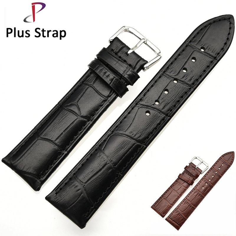 Plus strap Black &Brown Watchband Men Watch Strap Genuine Leather Soft Women Wristband 14 16 18 19 20 21 22 MM Pin buckle все цены