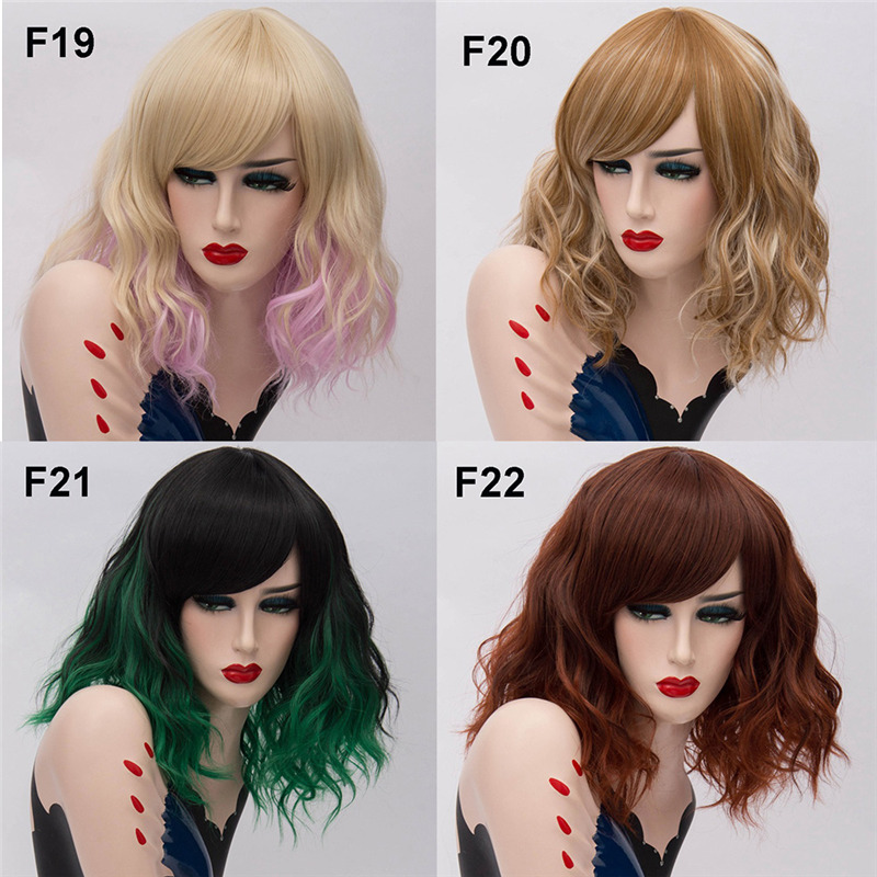 Image 5 - MSIWIGS Two Tones Short Cosplay Wigs for Women Pink White Wavy Ombre Wig with Bangs Purple Ombre Natural Synthetic Hair Wigs-in Synthetic None-Lace  Wigs from Hair Extensions & Wigs