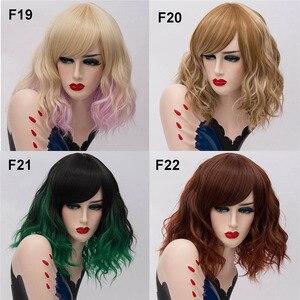 Image 5 - Msiwig perruque de Cosplay synthétique courte, deux tons, perruque naturelle, ondulée, rose, blanche, violette, ombrée, pour femmes
