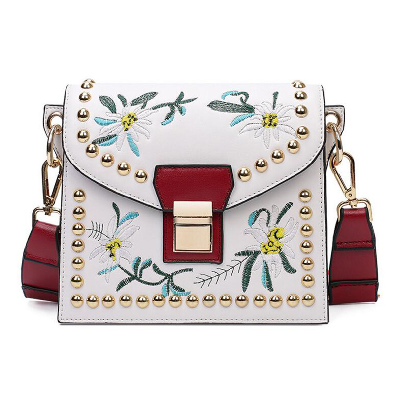 Embroidery Bags Women Leather Messenger Bag Flower Handbag Ladies Small Crossbody Bags Women Famous Brands Shoulder Bags Girls sgarr fashion pu leather casual tote bag famous brands small women embroidery handbag shoulder bags luxury female crossbody bag