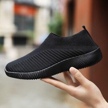 Mulher sapatos de tricô meias tênis mais size43 moda feminina vulcanizar sapatos femininos tênis de malha de ar plana casual tenis feminino