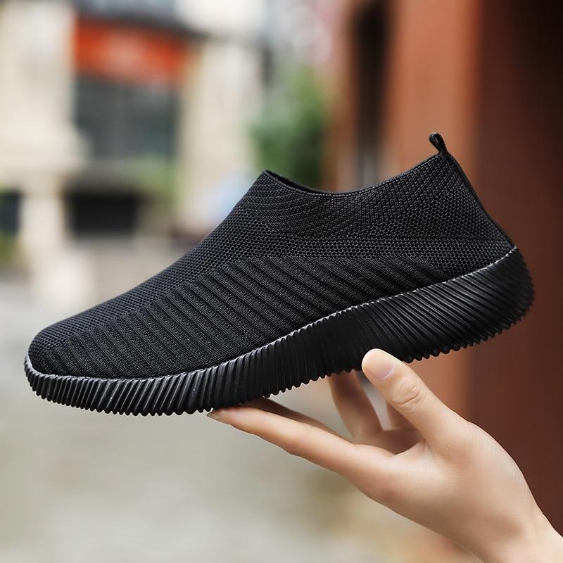 Women Shoes Knitting Sock Sneakers Plus Size43 Fashion Women Vulcanize Shoes Female Air Mesh Sneakers Flat Casual Tenis Feminino