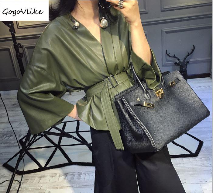 PU leather OL coat spring new female elegant v neck slim soft green jacket wide sleeve