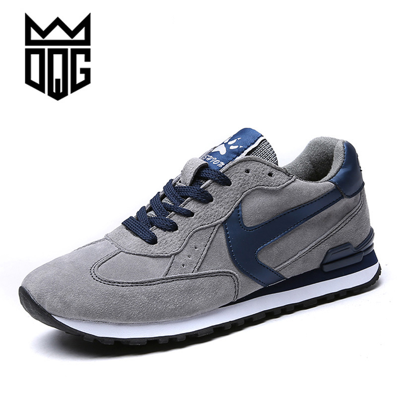 DQG 2017 Men Running Shoes Spring Genuine Leather Sports Shoes Sports Jogging Sneakers For Man Outdoor Flat Walking Trend Shoes
