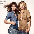 Cotton Spring Solid Button Pocket  Denim Blusas Shirts Plus Size 3XL Vintage Blusas Women Slim Suede Vintage blusa