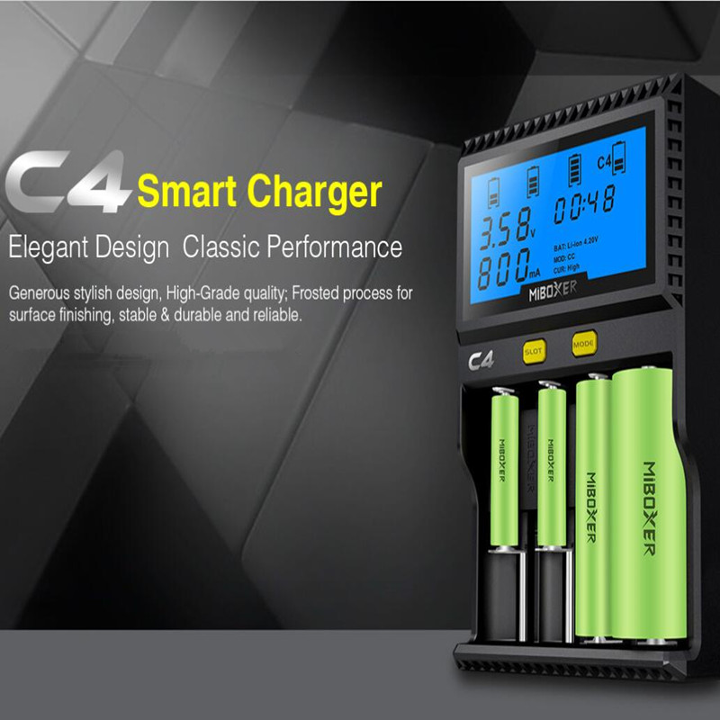 Smart Battery Charger-Original Miboxer C4 LCD Smart Battery Charger for Li-ion/IMR/INR/ICR/Ni-MH/Ni-Cd/LiFePO4 rechargeable lightstar romb 004064