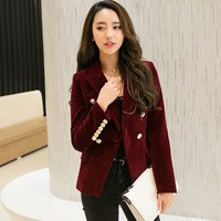 Women Autumn Velvet Blazer Slim Long Sleeve ladies Blazers Office Lady OL Formal Work Small Suit Jacket Blazers