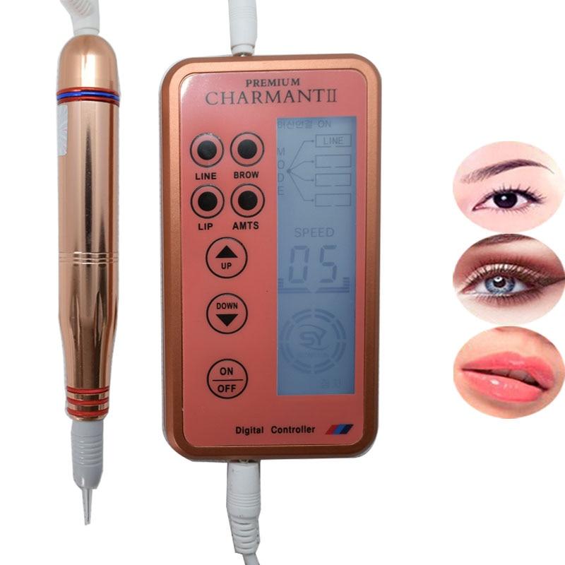 Electric Digital Permanent Makeup Machine Kits Professional Eyebrow Lip Eyeliner Tattoo Machine with Cartridge Needles