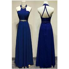 New Royal Blue Chiffon Prom Dresses 2017 Elegant Pleat A-Line Formal Evening Dress Robe De Bal Longue
