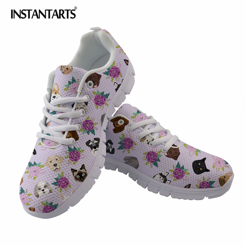 INSTANTARTS Dogs and Cats Pet Friendly Floral Animal Pattern Women Flats Casual Breathable Sneakers Girls Ladies Autumn Flats