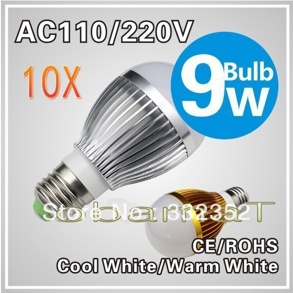 10X E279W LED bulb,Dimmable Bubble Ball Bulb AC85-265V ,E14 B22 GU10,silver/gold shell color,warm/cool white,3*3w +freeshipping