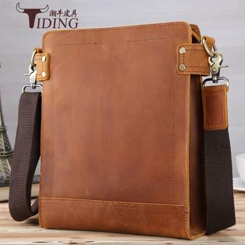 men shoulder bag genuine leather 2017 men's messenger bag crazy horse leather messenger bag cross body male bag brown black