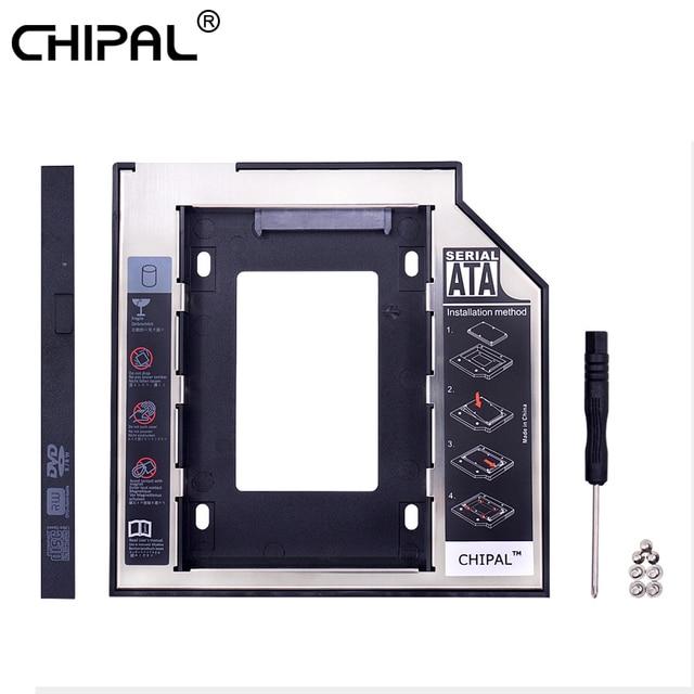 CHIPAL Universal 2nd HDD Caddy 9,5mm SATA 3,0 LED para carcasa de disco duro de 2,5 pulgadas ordenador portátil CD DVD ROM óptico